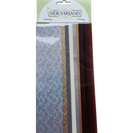 10 Wachsplatten Gold Silber Braun Mischung (8x Unifarbe 2x Flitter) 200x50x0,5mm Bunt sortiert , Verzierwachs, Wachs