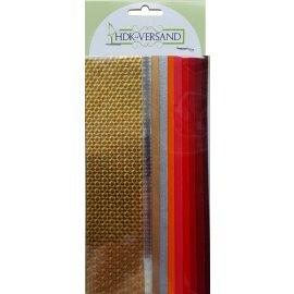 10 Wachsplatten Rot Gold Mischung (8x Unifarbe 2x Holo) 200x50x0,5mm Bunt sortiert , Verzierwachs, Wachs