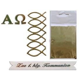 Wachsdekore Kommunion1 Alpha Omega, Fische, Transferfolie, Schriftzug 4 teilig