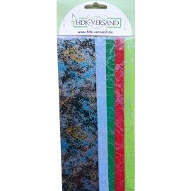 5 Wachsplatten Bunt Mix Grösse ca. 200x50x0,5mm Bunt sortiert , Verzierwachs, Wachs (Marmor Mix 1)