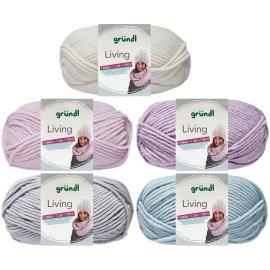 100 Gramm Gründl Living Wolle mit Anleitung für Mütze und Loop Farbauswahl