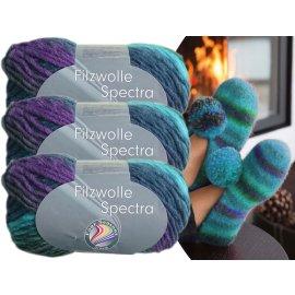 3x100 Gramm Filzwolle Spectra Wolle inkl. Strickanleitung für Filzhausschuhe Farbauswahl