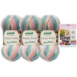 3x100 Gramm Gründl Happy Kiddy Wolle SB-Pack Wollset inkl. Strick-Anleitung für ein Pulli