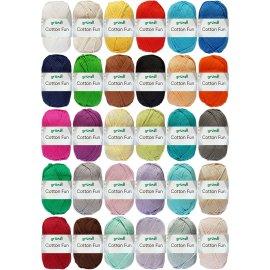 4x50 Gramm Gründl Cotton Fun Wollset inkl. Anleitung für Einkaufsnetz + Häkelnadel