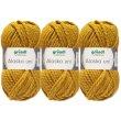3x100g Gründl Alaska Wolle Uni Fb. 10 Ocker 1...