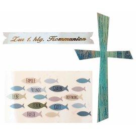 Wachsdekore Verzierwachs 3 tlg. Kreuz blau, Wachsbild Fische blau, Schriftzug 1. hlg. Kommunion
