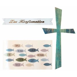 Wachsdekore Verzierwachs 3 tlg. Kreuz blau, Wachsbild Fische blau, Schriftzug Konfirmation