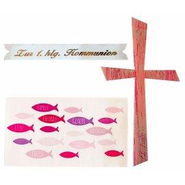 Wachsdekore Verzierwachs 3 tlg. Kreuz rosa, Wachsbild Fische rosa, Schriftzug 1. hlg. Kommunion