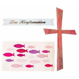 Wachsdekore Verzierwachs 3 tlg. Kreuz rosa, Wachsbild Fische rosa, Schriftzug Konfirmation