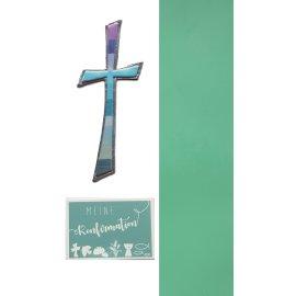Wachsdekore Verzierwachs 3 tlg.zur Konfirmation Kreuz blau,Wachsbild blaugrün, Wachsplatte blau 200x50x0,5mm
