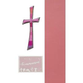 Wachsdekore Verzierwachs 3 tlg.zur Kommunion Kreuz rosa,Wachsbild rosa, Wachsplatte rosa 200x50x0,5mm