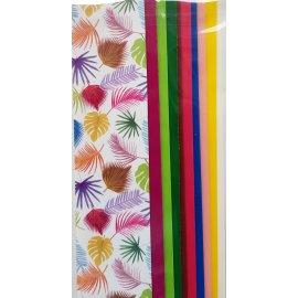 10 Wachsplatten Bunt Blätter Mix Grösse ca. 200x50x0,5mm Bunt sortiert , Verzierwachs, Wachs