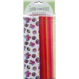 10 Wachsplatten Flower Power Grösse ca. 200x50x0,5mm Bunt sortiert , Verzierwachs, Wachs