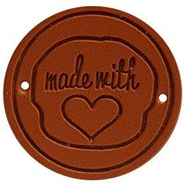 """4 Stück Kunstleder Label Handmade made with """"Herz"""" 25 mm Rund Braun"""